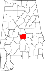 Map of Alabama showing Autauga County - Click on map for a greater detail.