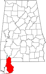 Map of Alabama showing Baldwin County - Click on map for a greater detail.