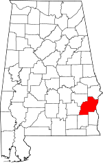 Map of Alabama showing Barbour County - Click on map for a greater detail.