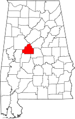 Map of Alabama showing Bibb County - Click on map for a greater detail.