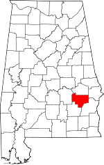 Map of Alabama showing Bullock County - Click on map for a greater detail.