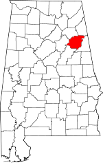 Map of Alabama showing Calhoun County - Click on map for a greater detail.