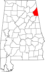 Map of Alabama showing Cherokee County - Click on map for a greater detail.