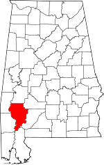 Map of Alabama showing Clarke County - Click on map for a greater detail.