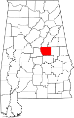 Map of Alabama showing Coosa County - Click on map for a greater detail.