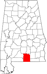 Map of Alabama showing Covington County - Click on map for a greater detail.