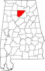 Map of Alabama showing Cullman County - Click on map for a greater detail.