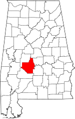 Map of Alabama showing Dallas County - Click on map for a greater detail.