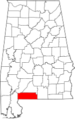 Map of Alabama showing Escambia County - Click on map for a greater detail.