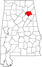 Map of Alabama showing Etowah County - Click on map for a greater detail.