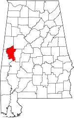 Map of Alabama showing Greene County - Click on map for a greater detail.
