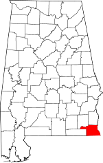 Map of Alabama showing Houston County - Click on map for a greater detail.
