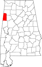 Map of Alabama showing Lamar County - Click on map for a greater detail.