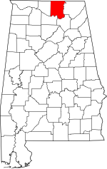 Map of Alabama showing Madison County - Click on map for a greater detail.