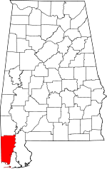 Map of Alabama showing Mobile County - Click on map for a greater detail.