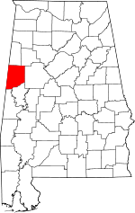 Map of Alabama showing Pickens County - Click on map for a greater detail.
