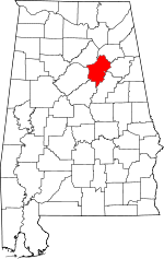 Map of Alabama showing St. Clair County - Click on map for a greater detail.