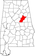 Map of Alabama showing Talladega County - Click on map for a greater detail.