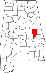 Map of Alabama showing Tallapoosa County - Click on map for a greater detail.