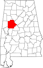 Map of Alabama showing Tuscaloosa County - Click on map for a greater detail.