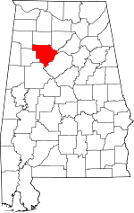 Map of Alabama showing Walker County - Click on map for a greater detail.