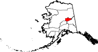 Map of Alaska showing Fairbanks North Star Borough - Click on map for a greater detail.