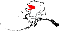 Map of Alaska showing Northwest Arctic Borough - Click on map for a greater detail.