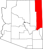Map of Arizona showing Apache County - Click on map for a greater detail.