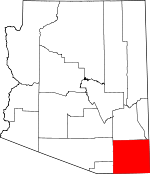 Map of Arizona showing Cochise County - Click on map for a greater detail.