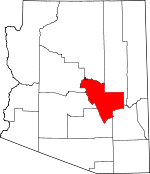 Map of Arizona showing Gila County - Click on map for a greater detail.