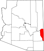 Map of Arizona showing Greenlee County - Click on map for a greater detail.