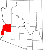 Map of Arizona showing La Paz County - Click on map for a greater detail.