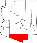 Map of Arizona showing Pima County - Click on map for a greater detail.