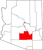 Map of Arizona showing Pinal County - Click on map for a greater detail.