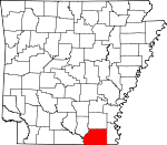 Map of Arkansas showing Ashley County - Click on map for a greater detail.