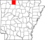 Map of Arkansas showing Boone County - Click on map for a greater detail.