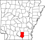 Map of Arkansas showing Bradley County - Click on map for a greater detail.