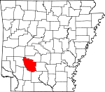 Map of Arkansas showing Clark County - Click on map for a greater detail.