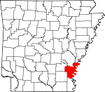 Map of Arkansas showing Desha County - Click on map for a greater detail.