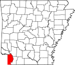Map of Arkansas showing Miller County - Click on map for a greater detail.