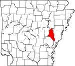 Map of Arkansas showing Monroe County - Click on map for a greater detail.