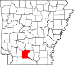Map of Arkansas showing Ouachita County - Click on map for a greater detail.