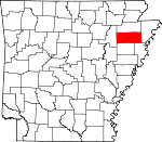 Map of Arkansas showing Poinsett County - Click on map for a greater detail.