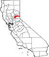 Map of California showing Nevada County - Click on map for a greater detail.