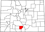 Map of Colorado showing Alamosa County - Click on map for a greater detail.