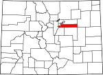 Map of Colorado showing Arapahoe County - Click on map for a greater detail.