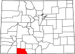 Map of Colorado showing Archuleta County - Click on map for a greater detail.