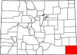 Map of Colorado showing Baca County - Click on map for a greater detail.