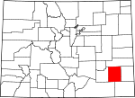 Map of Colorado showing Bent County - Click on map for a greater detail.