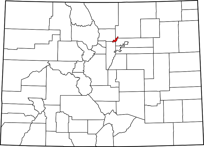 Map of Colorado showing Broomfield County - Click on map for a greater detail.